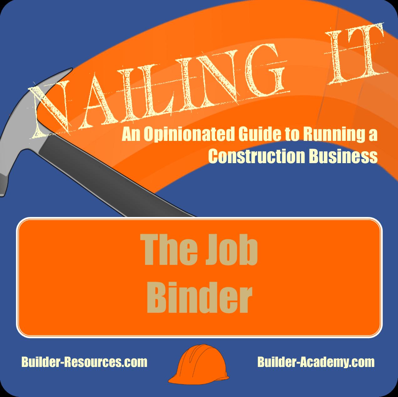 Job binder for Home construction binder